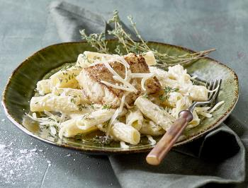 Pan fried fish with pasta