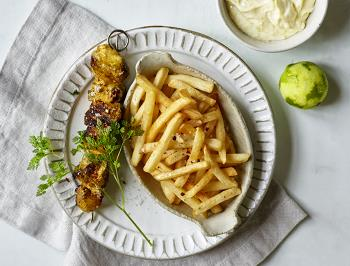 French fries with chicken kebab
