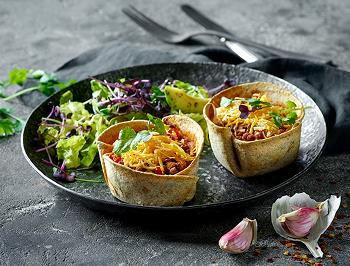 Vegan homemade taco cups with Tex-mex shreds