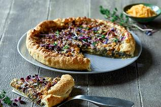 Vegan Onion tart with Cheddar style shreds