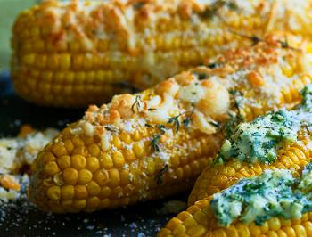 Corn with Emborg Parmegiano Reggiano and herbs