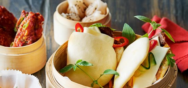 Bao Buns with BBQ Beef and Mozzarella