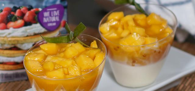 Coconut Panna Cotta with Sago and Fresh Mangoes
