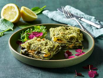 Vegan Spinach lasagne with lemon and Cheddar-style shreds